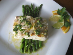 California Sea Bass with Chili Citrus Herb Vinaigrette