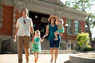 Familiy walking, carnegie library